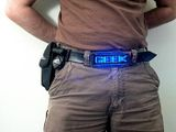 Belt with display - Blue metalic