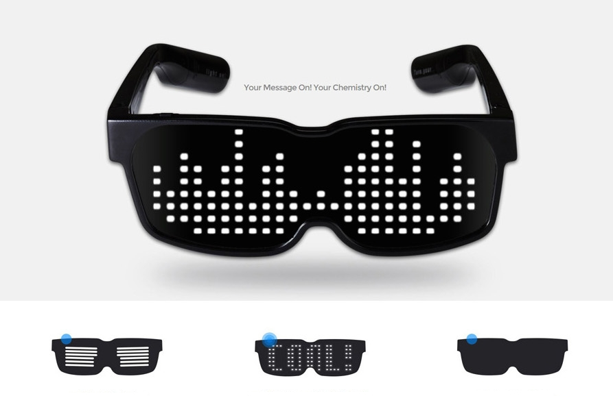 LED glasses with scrooling display