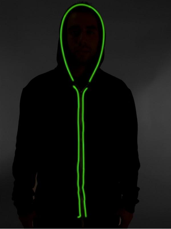 Neon lighting hoodie - green | LED t-shirts | GET-a-LED.com